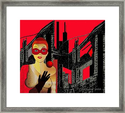 014 - In  Red   City Darkness Framed Print by Irmgard Schoendorf Welch