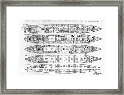 Inquiry In The Loss Of The Titanic Cross Sections Of The Ship  Framed Print by English School