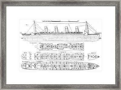 Inquiry Into The Loss Of The Titanic Cross Sections Of The Ship  Framed Print by English School