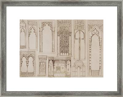 Islamic And Moorish Design For Shutters And Divans Framed Print by Jean Francois Albanis de Beaumont
