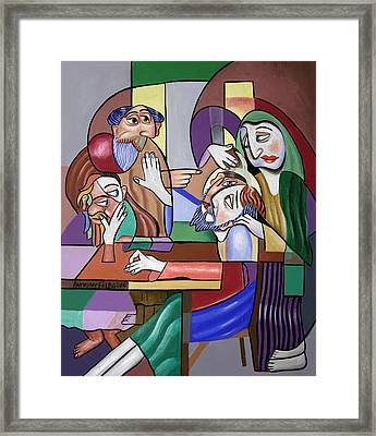 Jesus Anointed At Bethany Framed Print by Anthony Falbo