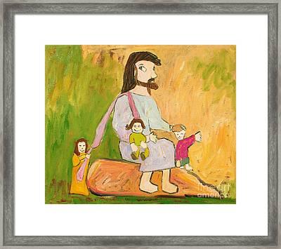 Jesus Loves Children Framed Print by Isara Daengruan
