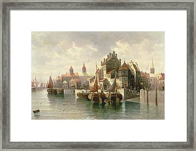 Kieler Canal Framed Print by August Siegen