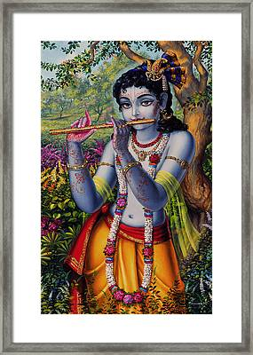 Krishna With Flute  Framed Print by Vrindavan Das