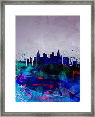 Las Vegas Watercolor Skyline Framed Print by Naxart Studio