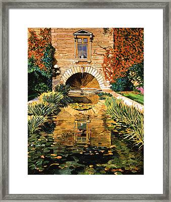 Lily Pond And Fountain Framed Print by David Lloyd Glover