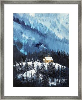 Little Chapel Red Cloud Framed Print by David Ackerson