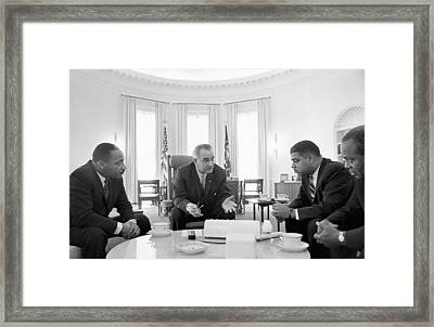 Lyndon Baines Johnson 1908-1973 36th President Of The United States In Talks With Civil Rights  Framed Print by Anonymous
