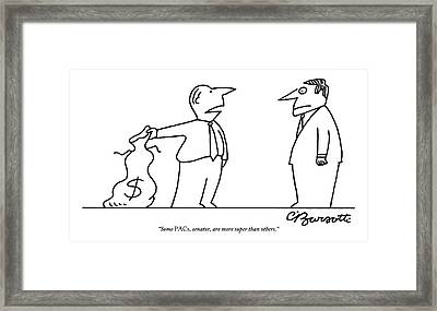 Man, Holding A Bag Of Money, Speaks To Another Framed Print by Charles Barsotti
