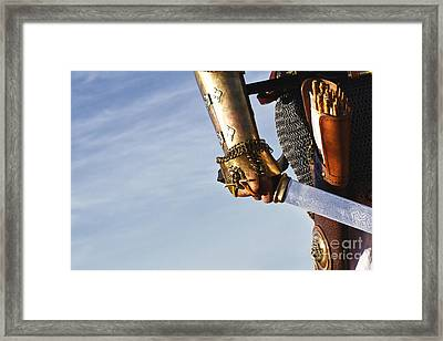 Medieval Knight And Sword Framed Print by Holly Martin
