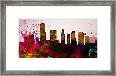 Miami City Skyline Framed Print by Naxart Studio