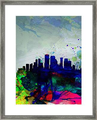 New Orleans Watercolor Skyline Framed Print by Naxart Studio
