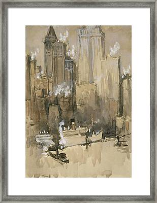 New York From Our Brooklyn Flat Circa 1921 Framed Print by Aged Pixel
