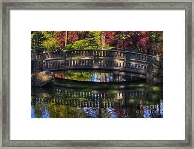 Nishinomiya Japanese Garden - Bridge Over Kiri Pond Framed Print by Mark Kiver