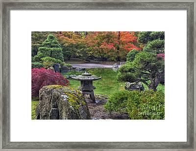 Nishinomiya Japanese Garden -japanese Lantern Framed Print by Mark Kiver