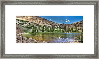 Panoramic View Of An Alpine Lake Framed Print by Robert Bales