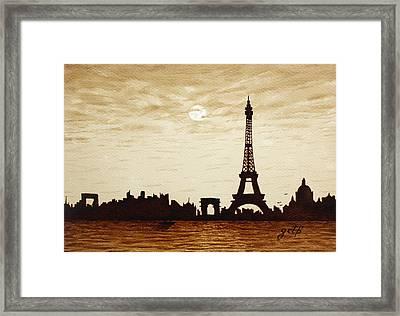 Paris Under Moonlight Silhouette France Framed Print by Georgeta  Blanaru