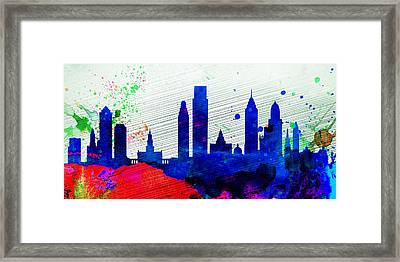 Philadelphia City Skyline Framed Print by Naxart Studio