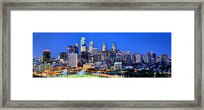 Philadelphia Skyline At Night Evening Panorama Framed Print by Jon Holiday