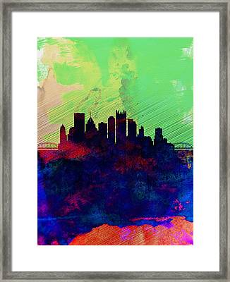 Pittsburgh Watercolor Skyline Framed Print by Naxart Studio