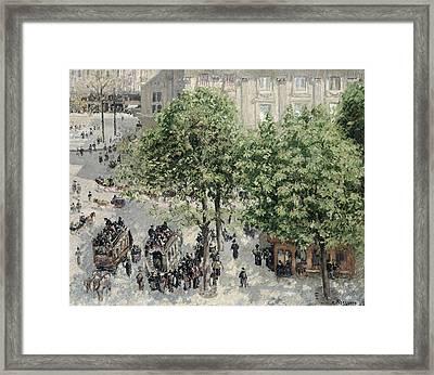 Place Du Theatre Francais Framed Print by Camille Pissarro