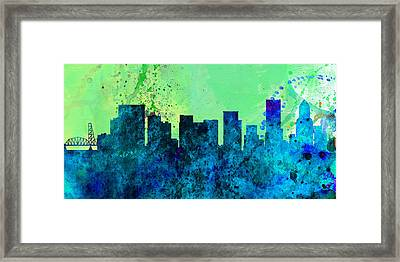 Portland City Skyline Framed Print by Naxart Studio