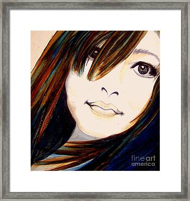 Portrait Of A Woman Framed Print by Janine Riley