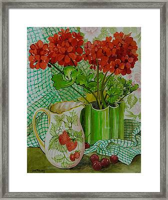 Red Geranium With The Strawberry Jug And Cherries Framed Print by Joan Thewsey
