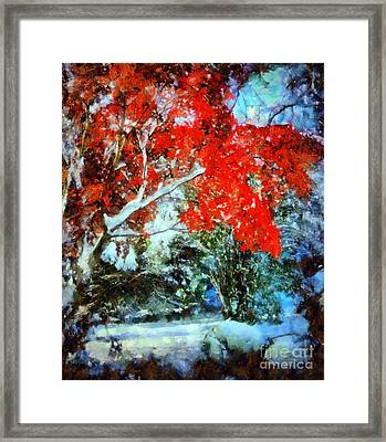 Red October Snow Framed Print by Janine Riley