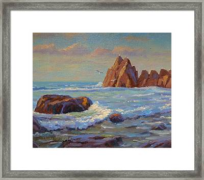 Rocks West Coast Framed Print by Terry Perham