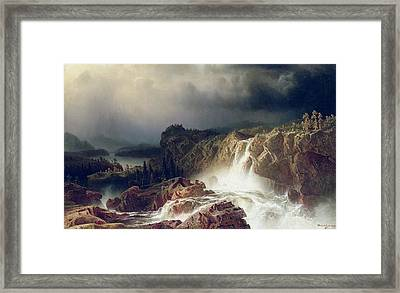 Rocky Landscape With Waterfall In Smaland Framed Print by Marcus Larson