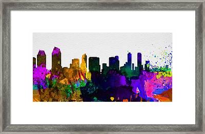 San Diego City Skyline Framed Print by Naxart Studio