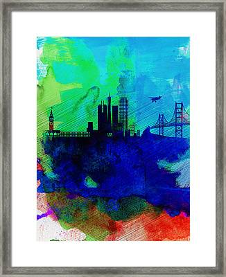 San Francisco Watercolor Skyline 2 Framed Print by Naxart Studio