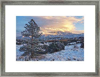 Sandia Mountains With Snow At Sunset Framed Print by Mary Lee Dereske