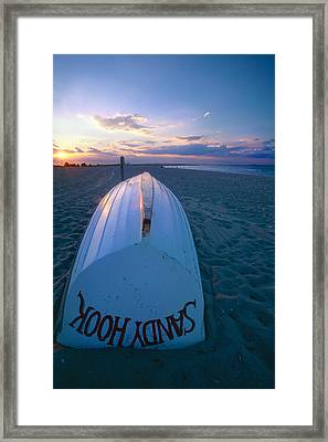 Sandy Hook Beach Sunset Framed Print by George Oze