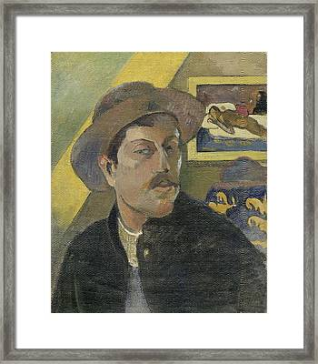 Self-portrait With A Hat Framed Print by Paul Gauguin