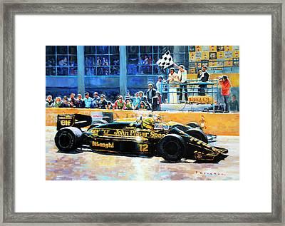 Senna Vs Mansell F1 Spanish Gp 1986 Framed Print by Yuriy Shevchuk