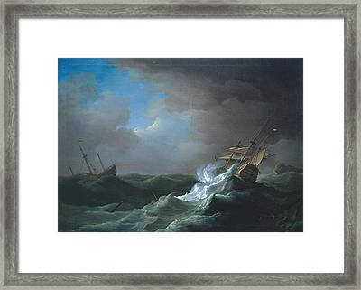 Ships In Distress In A Storm Framed Print by Peter Monamy