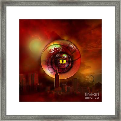 Signs In The Sky A Red Dragon Framed Print by Franziskus Pfleghart