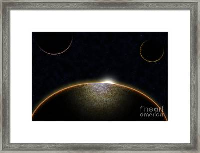 Stars In Space Galaxy Framed Print by Niphon Chanthana