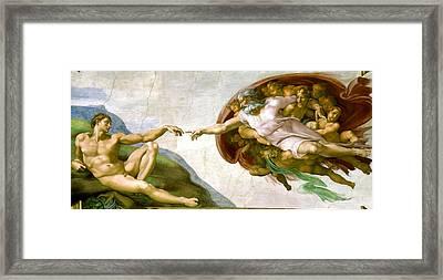The Creation Of Adam Framed Print by Michelangelo di Lodovico Buonarroti Simoni