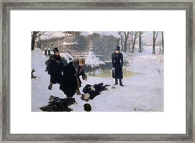 The Duel Framed Print by Ilya Efimovich Repin