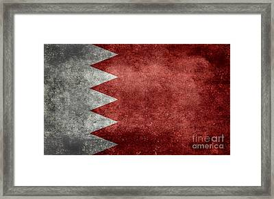 The Flag Of The Kingdom Of Bahrain Vintage Version Framed Print by Bruce Stanfield