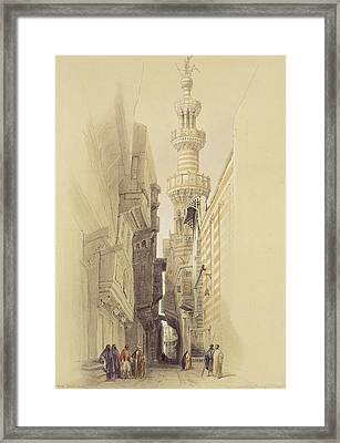 The Minaret Of The Mosque Of El Rhamree Framed Print by David Roberts