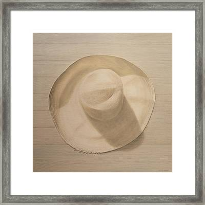 Travelling Hat On Dusty Table Framed Print by Lincoln Seligman