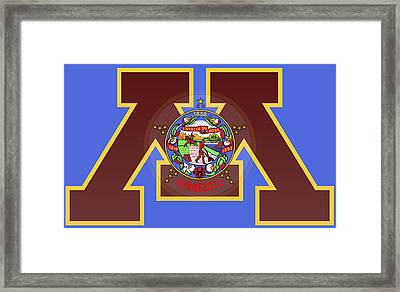 U Of M Minnesota State Flag Framed Print by Daniel Hagerman
