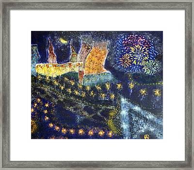 Vangogh Firework Dream Framed Print by Osama Afram