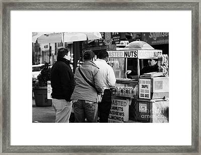Vendor Selling Roasted Nuts And Soft Drinks To Queue Of  People New York City Framed Print by Joe Fox