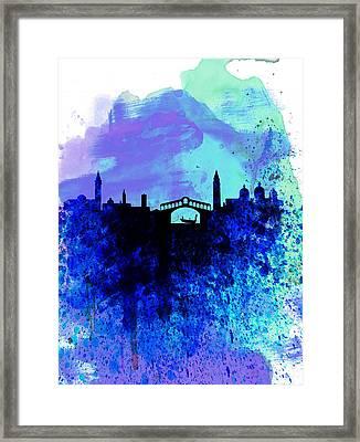 Venice Watercolor Skyline Framed Print by Naxart Studio