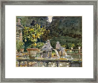 Villa Di Marlia Lucca - A Fountain Framed Print by John Singer Sargent